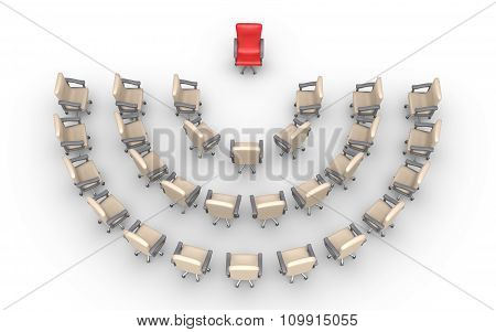 Empty Chairs And One Red