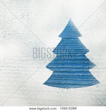 Blue Christmas tree shape on white