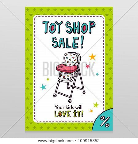 Toy Shop Vector Sale Flyer Design With High Baby Feeding Chair
