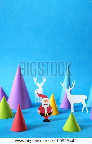 Christmas Colorful Paper Cut Santa Copy Space Card