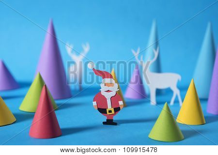 Christmas Colorful Santa Reindeer Paper Cut Card
