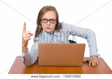 Office employee with laptop isolated on white
