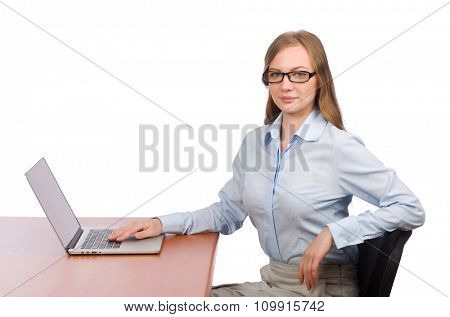 Office employee at work table with laptop isolated on white