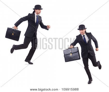 Businessman in vintage concept isolated on white