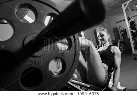 Young muscular woman doing workout at the gym