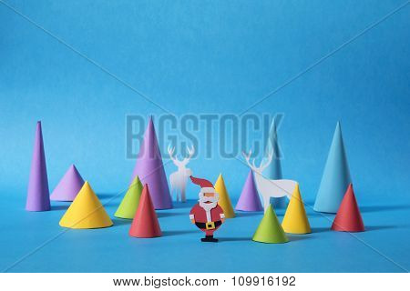 Holiday Christmas Paper Cut Santa Greeting Card