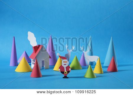 Christmas Paper Cut Santa House Deer Greeting Card