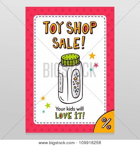 Toy Shop Vector Sale Flyer Design With Baby Powder Bottle