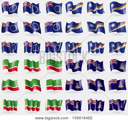 Cook Islands, Marshall Islands, Chechen Republic, Cayman Islands. Set Of 36 Flags Of The Countries