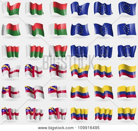 Madagascar, European Union, Herm, Colombia. Set Of 36 Flags Of The Countries Of The World.