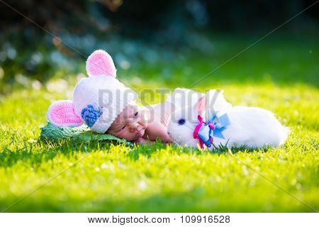 Newborn Baby Boy With Easter Bunny