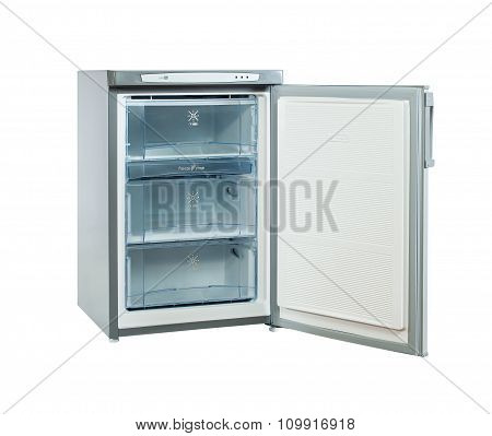 Studio Shot Small Stainless Steel Refrigerator Isolated On White