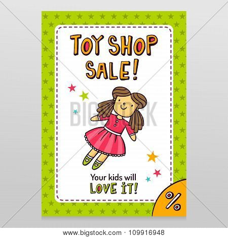 Toy Shop Vector Sale Flyer Design With Cute Doll In Pink Dress