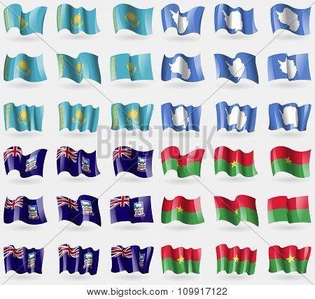 Kazakhstan, Antarctica, Falkland Islands, Burkia Faso. Set Of 36 Flags Of The Countries Of The