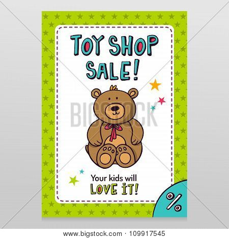 Toy Shop Vector Sale Flyer Design With Teddy Bear