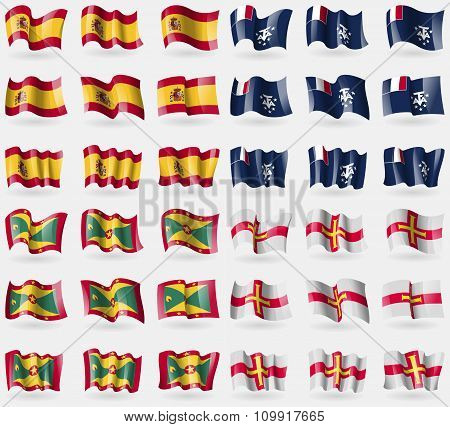 Spain, French And Antarctic, Grenada, Guernsey. Set Of 36 Flags Of The Countries Of The World.