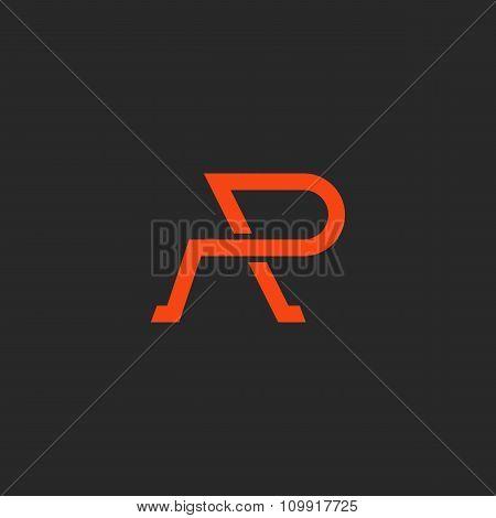 Logo R Letter Monogram, Weaving Thin Line Style, Mockup Abstract Emblem, Design Element Template
