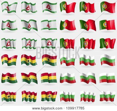 Ingushetia, Portugal, Ghana, Bulgaria. Set Of 36 Flags Of The Countries Of The World.
