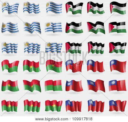 Uruguay, Palestine, Burkia Faso, Myanmarburma. Set Of 36 Flags Of The Countries Of The World.