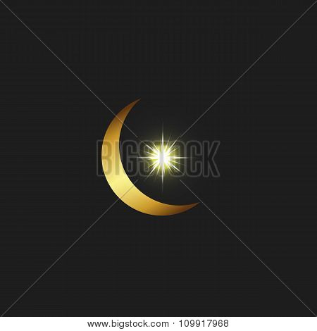 Crescent Logo Muslim Star, Arabic Islamic Golden Symbol
