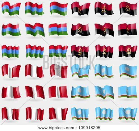 Karelia, Angola, Peru, Sakha Republic. Set Of 36 Flags Of The Countries Of The World.