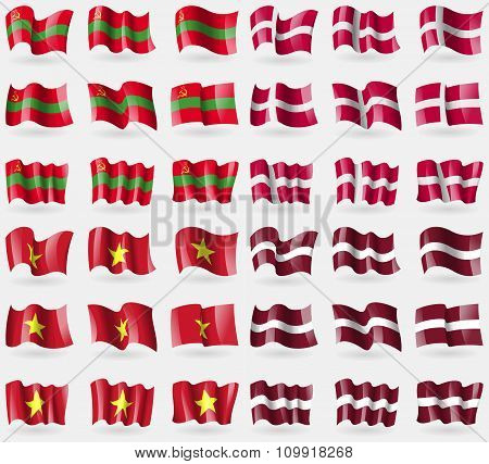 Transnistria, Denmark, Vietnam, Latvia. Set Of 36 Flags Of The Countries Of The World.