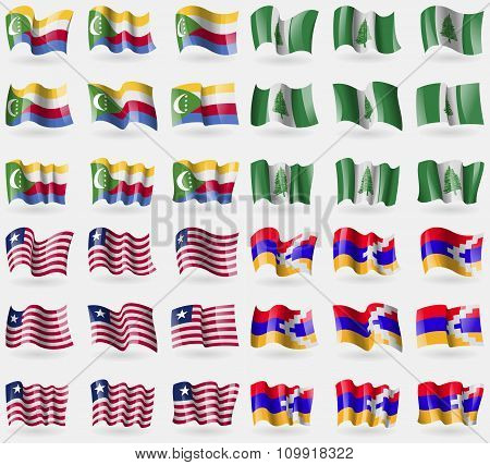 Comoros, Norfolk Island, Liberia, Karabakh Republic. Set Of 36 Flags Of The Countries Of The