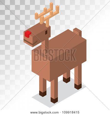 Santa Claus cartoon Christmas deer 3d isometric icon. Reindeer vector 3d pixel art game illustration. Deer animal icon isolated. Reindeer vector symbol. Reindeer pixel art. Deer icon isolated on white
