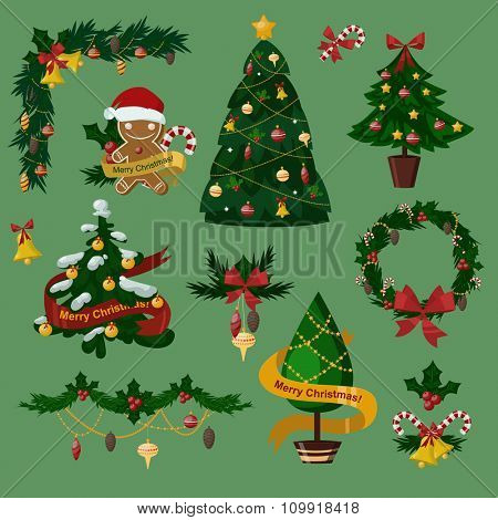 Christmas tree flat icons set. Christmas tree vector. New Year tree isolated. Christmas tree vector illustration. New Year tree silhouette. Christmas decoration, balls, tree, green tree. Set of