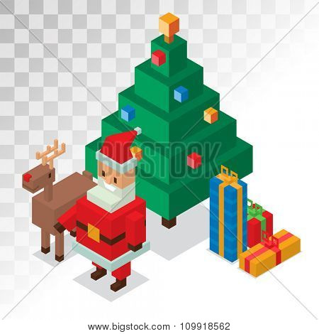 Santa Claus, gift box, deer, tree sometric 3d icons vector illustration. Santa Claus cartoot people. Christmas 3d pixel art traditional costume Santa Claus isolated. Santa Claus greeting card icons