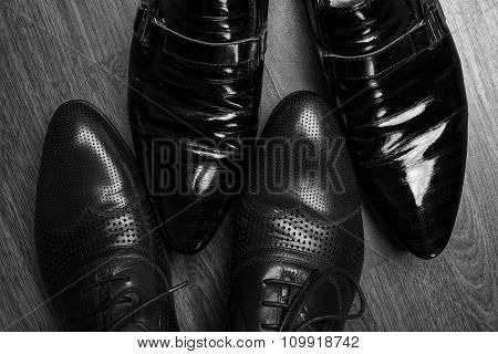 Businessmen In Classical Shoes. Concept Of Successful Cooperation In Business