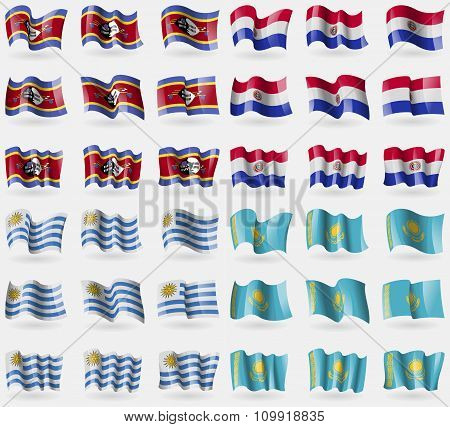 Swaziland, Paraguay, Uruguay, Kazakhstan. Set Of 36 Flags Of The Countries Of The World.