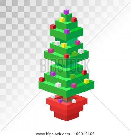 Christmas tree flat 3d isometric pixel art icon. Christmas tree vector. New Year tree isolated. Christmas tree vector illustration. New Year tree 3d silhouette. Christmas decoration, balls, tree