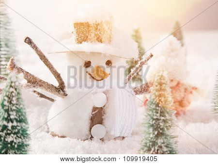 Christmas background with snowman