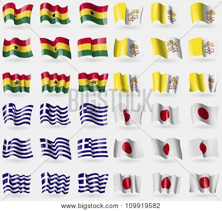 Ghana, Vatican Cityholy See, Greece, Japan. Set Of 36 Flags Of The Countries Of The World.