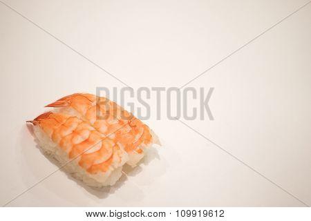 Shrimp Sushi (ebi), Isolated In White Background