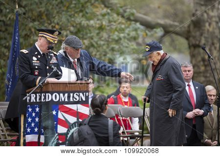 NEW YORK - NOVEMBER 11 2015: Former Manhattan District Attorney Robert Morgenthau, vet and Grand Marshal walks to the stage in Madison Square Park before the parade up 5th Ave on Veterans Day in NYC.