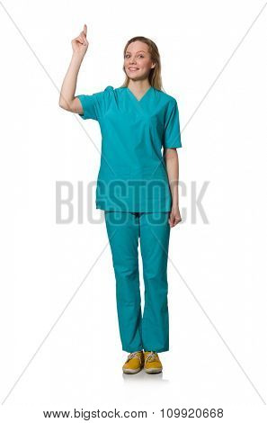 Woman doctor isolated on white