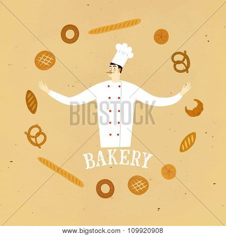 Hand Drawn Baker Chief With  Logo