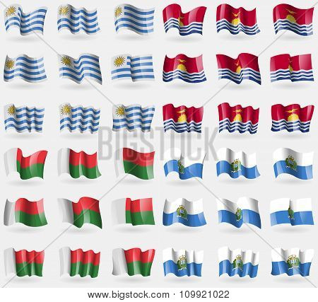 Uryguay, Kiribati, Madagascar, San Marino. Set Of 36 Flags Of The Countries Of The World.
