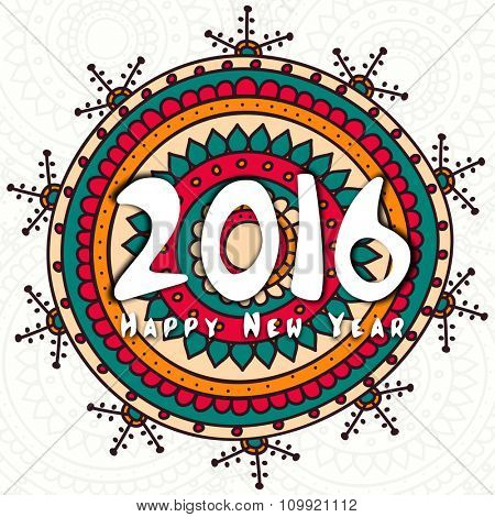 Colorful floral design decorated greeting card for Happy New Year 2016 celebration.
