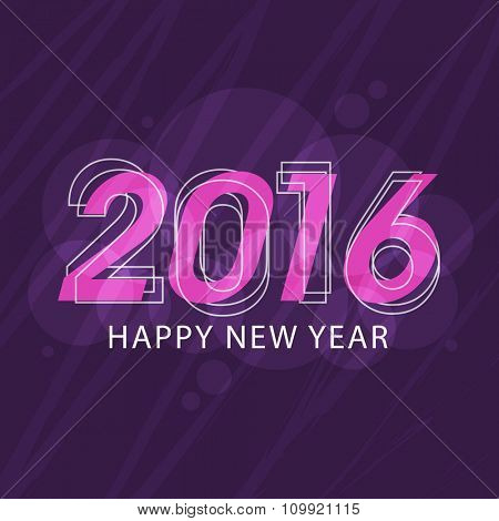 Elegant greeting card design with stylish text 2016 on purple background for Happy New Year celebration.