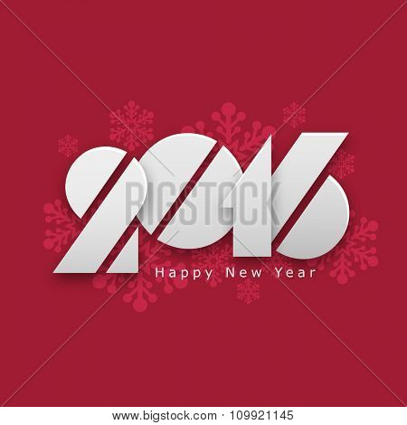 Creative text 2016 on snowflakes decorated background for Happy New Year celebration.