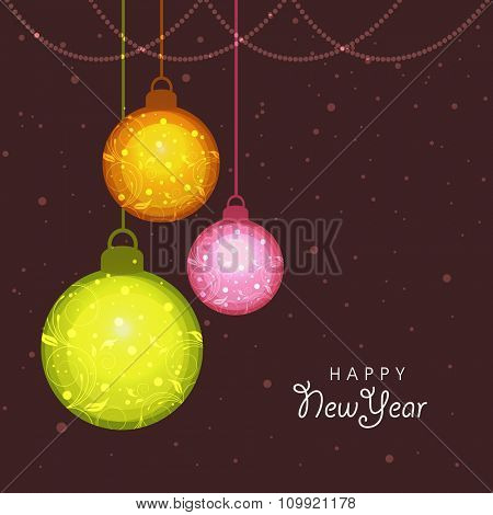Elegant greeting card with floral design decorated Xmas Balls for Happy New Year celebration.
