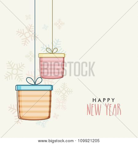Elegant greeting card design with hanging gifts on snowflakes decorated background for Happy New Year celebration.