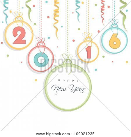 Elegant greeting card design with colorful text 2016 on hanging frames for Happy New Year celebration.