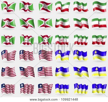 Burundi, Iran, Liberia, Buryatia. Set Of 36 Flags Of The Countries Of The World.