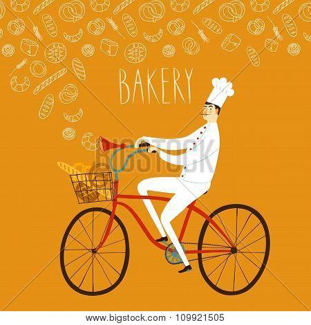 Cartoon Chief On Bicycle