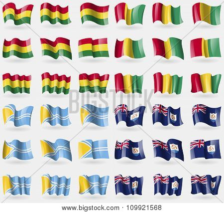 Bolivia, Guinea, Tuva, Anguilla. Set Of 36 Flags Of The Countries Of The World.