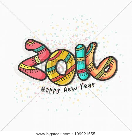 Elegant greeting card design with creative colorful text 2016 for Happy New Year celebration.